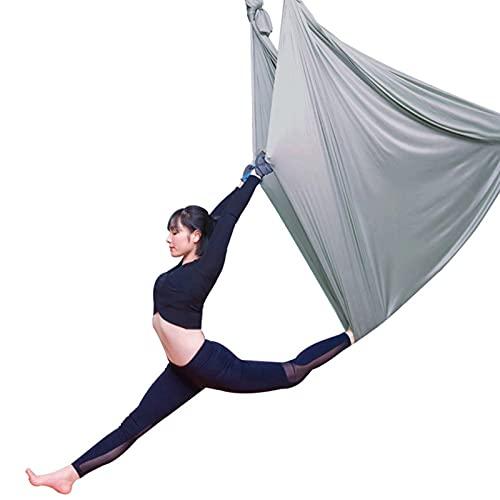 YANGHUI Hamaca aérea Yoga Pilates Yoga Swing Set Gradation Color Anti-Gravity Inversión Dispositivo Gimnasio Fitness Equipment, gris, 5m