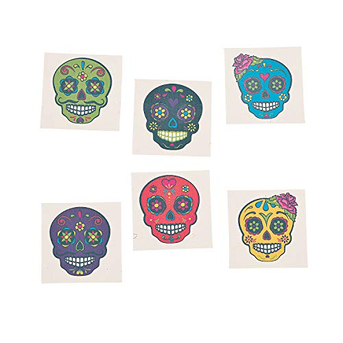 Sugar Skull Temporary Tattoos - Day of the Day and Halloween Accessories - 72 Pieces