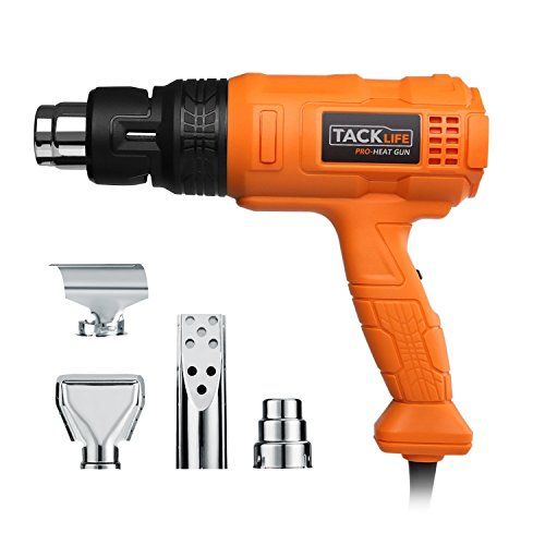 Tacklife HGP70AC Heavy Duty Heat Gun 1500w 122?~ 1022??50?- 550??with Three-Temp Settings Four Nozzles with Overload Protection for Stripping Paint, Bending Pipes, Lighting BBQ