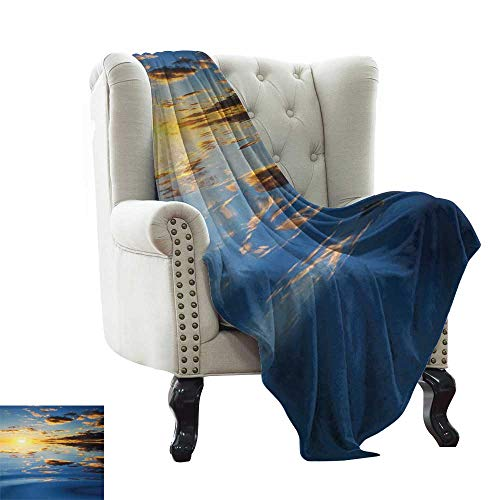 BelleAckerman - Manta para bebé, diseño de Paisaje romántico y romántico de los sueños con luz del Sol, Color Amarillo y Azul para Cama y sofá de fácil Cuidado, 177,8 x 228,6 cm
