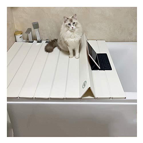 MNBVH Badewannenabdeckung Belastbar Material Badewannenablage Auflage auf der Wanne PVC Dämmplatte Weiß Anti-Staub Badewanne Abdeckung 22 Größen, Weiß 170×70 cm