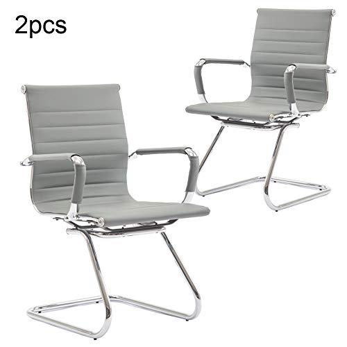 Wahson Konferenzstuhl aus PU-Leder Besucherstuhl mit Chromgestell, Bürostuhl 2 Stück Grau