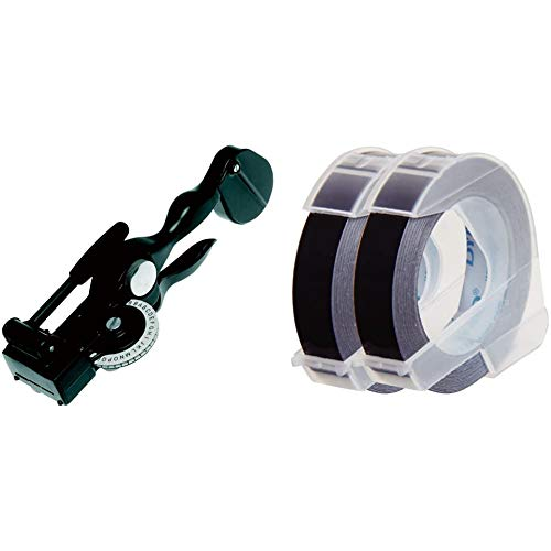 【セット買い】ダイモ テープライター アルミテープ用 DM1011 & テープ 幅9mm 長さ3m つやあり 黒 2巻 DM0903B2