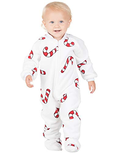 Footed Pajamas - Candy Cane Lane Infant Chenille Onesie (Infant - Small (Fits 0-3mos.)) White