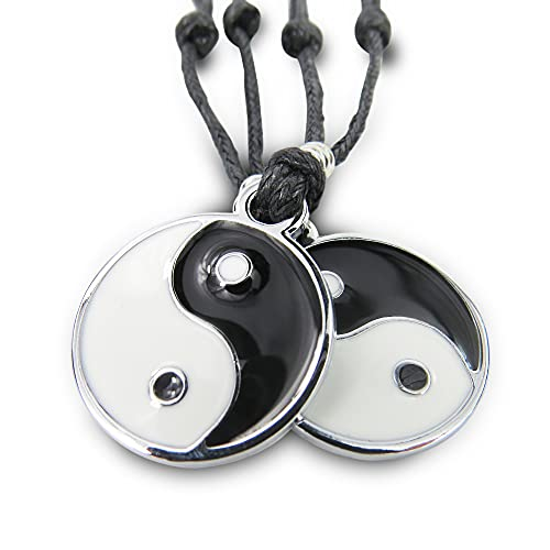 Colgantes Yin Yang / Acero Inoxidable Ajustable /Collar Masculino/Femenino/Unisex | Regalo Parejas y Amigos (Yin Yang Pack2)
