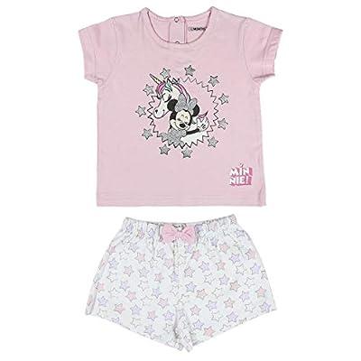 Cerdá Pijama de Minnie Mouse-Camiseta + Pantalon de Algodón Juego, Rosa, 12 Meses Unisex bebé