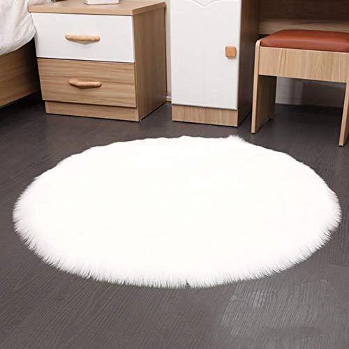 RAQ Super Soft Faux tapijt wasbaar warm Hairy Seat Pad zachte tapijten imitatiebont voor stoelen vloer sofa kussen 50x50cm Wit.