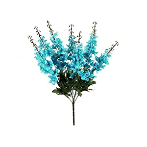Turquoise Delphinium Bush Artificial Flowers 22″-Floral tributes-Home Decor-Wedding Decor-Artificial Plants & Flowers-Faux Flowers-Artificial Plant-Bridal Bouquets for Wedding-Artificial Greenery
