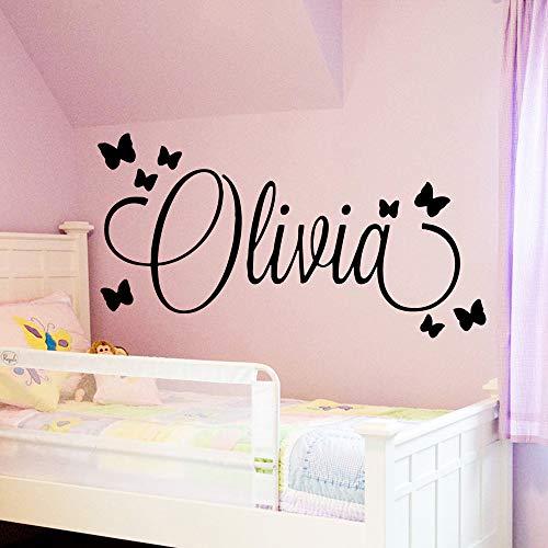HNXDP de gran tamaño personalizado nombre personalizado pared arte calcomanía bebés pegatinas de pared material para niños niñas niños dormitorio decoración mural oro m 30 cm x 56 cm