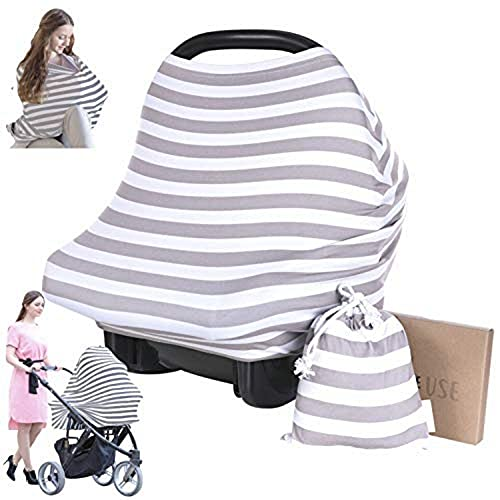 Nursing Cover for Baby Breastfeeding - Car Seat Canopy by KeaBabies - All-in-1 Soft Breathable Stretchy Carseat Canopy - Infinity Nursing Cover Up for Girls, Boys (BFF Gray)