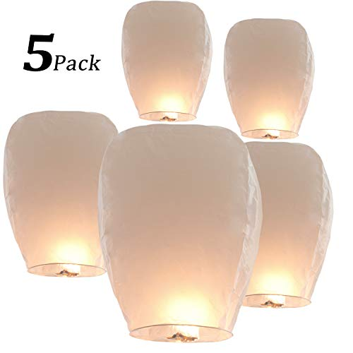 5 Pack Sky Lanterns Paper Chinese Lanterns 100% Biodegradable Environmentally Friendly, Flying Wish Lanterns for Wedding, New Year, Birthday Party Celebration