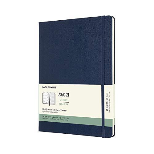 Moleskine - Agenda Settimanale 18 Mesi, Agenda Settimanale 2020/2021, Weekly Notebook con Copertina Rigida e Chiusura ad Elastico, Formato EXTRA-LARGE 19 x 25 cm, Colore Blu Zaffiro, 208 Pagine