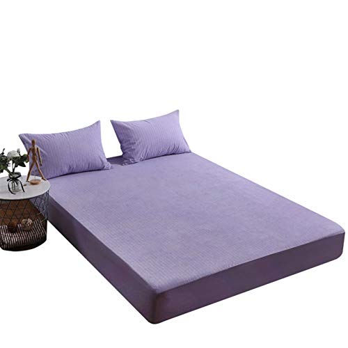 Deep Pocket Wrinkle Fitted Bed Sheets Twin Washable Mattress Cover Hypoallergenic Dust Proof Smooth Soft Cotton Terry Covers (Color : Purple, Size : 135x200+30cm)