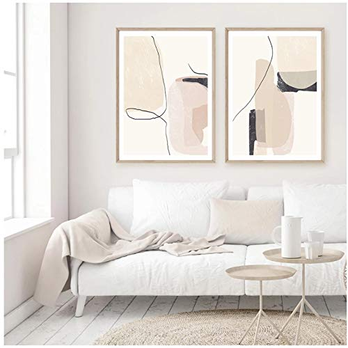 QIAOO Kreative Leinwand Bild, Moderne Boho abstrakte beige Schwarze Linie Marmor Textur Malerei, Poster Wandkunst Wohnzimmer Home Decor No Frame