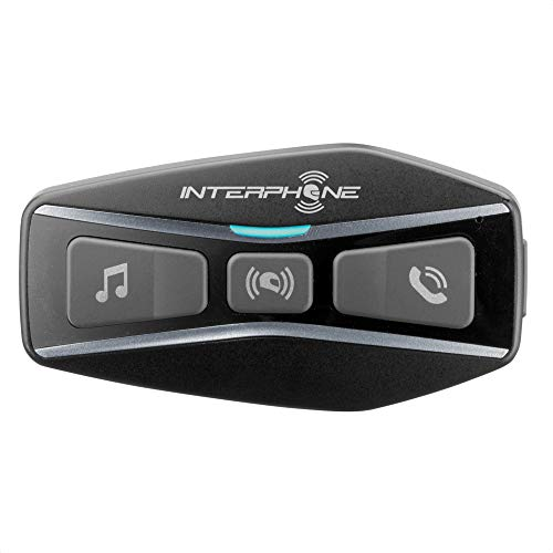 Interphone INTERPHOUCOM4 | Single | Bluetooth 5.0 Intercom for Motorcycle, Group Use at 4, Distance 1 Km, Autonomy Up to 15 Hours, Mp3, GPS, IP67 Waterproof, Universal, Black, UCOM4