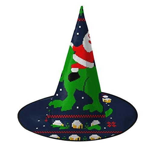 NUJSHF Weihnachtsmütze mit Weihnachtsmann-Trex-Bier, Hässliches Strickmuster, Hexenhut, Halloween, Weihnachten, Karneval, Party