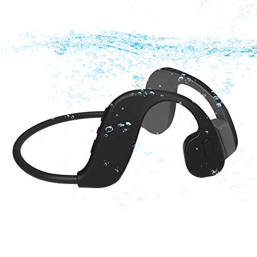 AQUYY Open-Ear Schwimmen Kopfhörer Bluetooth 5.0, IP68 Wasserdicht MP3 Musikplayer mit 32GB Speicher, Sportkopfhörer Wireless Headset mit Knochenleitung zum Laufen Fahren Radfahren Black 32G