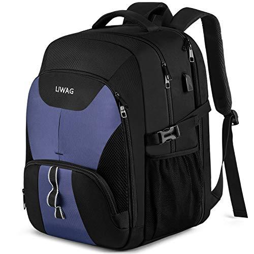 Zaino extra grande per gli uomini 50L, zaino portatile da viaggio durevole con porta di ricarica USB - blu - 43 cm