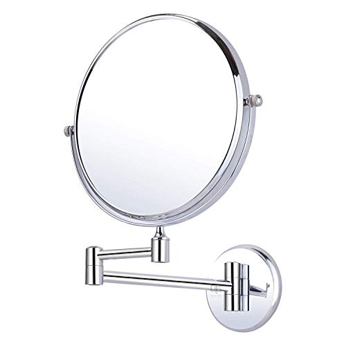 QUICK SILVER Stainless Steel 2 Sided Revolving Magnifying/Shaving/Makeup/Bathroom Mirror and Wall Bracket with Flexible Rod; 200 mm/8-inch; Silver