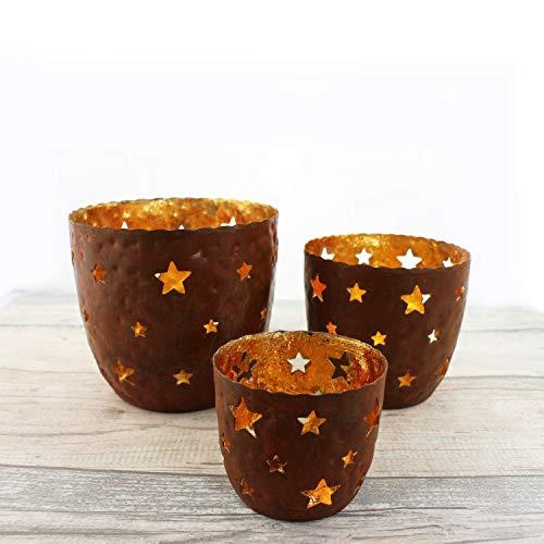 mitienda mit Liebe gemacht Teelichthalter Sterne 3er Set, Windlicht, Teelichtschalen aus Metall, rost/Gold
