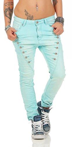 Fashion4Young 10826 MOZZAAR Damen Jeans Jeans Röhrenjeans Haremshose Damenjeans Hüftjeans Baggy (3XL=46, türkis)