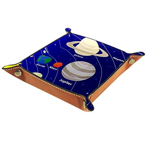 Bandeja de PU Cuero, Almacenamiento Organizador para Joyas, Caja Relojes, Llaves, Monedas, Teléfonos, Cartera, Moneda Sistema Solar Star Planet STAR