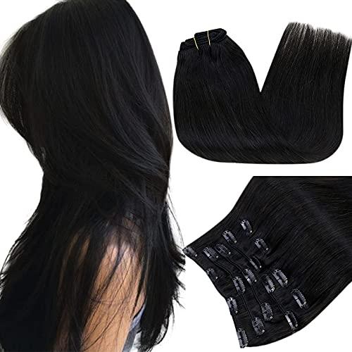 RUNATURE Extension Capelli Veri Clip Fascia Unica 12 Pollice Colore 1B Fuori Nero Human Hair Extenciones Capelli Veri Clip 9Pcs 100g