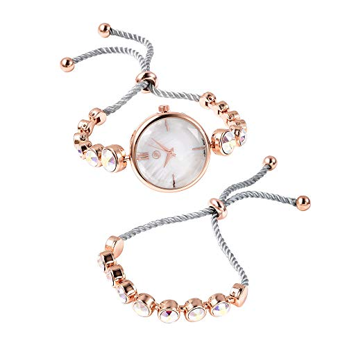 Set of 2 GENOA Japanese Movement Swarovski AB Crystal Studded Water Resistant Bracelet Watch and Adjustable Bolo Bracelet (Size 6-9.5) in Rose Gold Tone