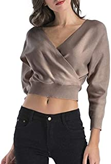 Autumn and Winter New Women's Shirt V-Neck Long-Sleeved Navel Exposed Short Sweater (Color : Khaki, Size : M)