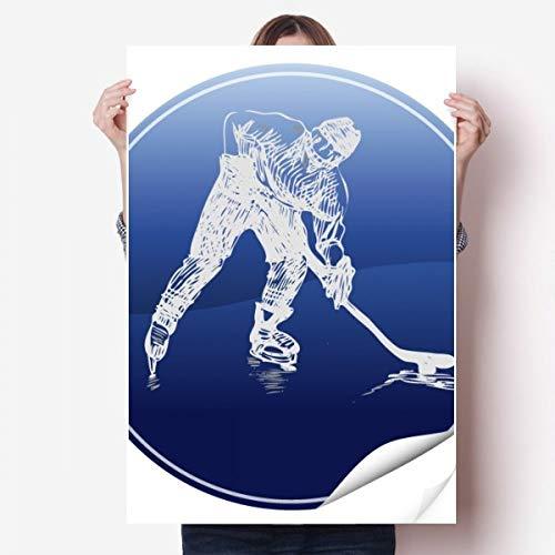 DIYthinker Wintersport Eislauf und Eishockey Aquarell Vinylwand-Aufkleber-Plakat-Wand Tapete Raum Aufkleber 80X55Cm 80Cm X 55Cm Mehrfarbig