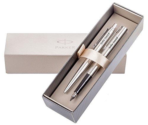 Penna a sfera e penna stilografica Parker, con confezione regalo, incisione laser gratuita con testo o nome, ideale per anniversario, Natale, matrimonio, compleanno o idea regalo per uomo, regalo per donna, argento