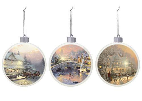 Mark Feldstein & Associates Thomas Kincade Classic White 3.25 inch Porcelain Holiday Tree Ornaments Set of 3