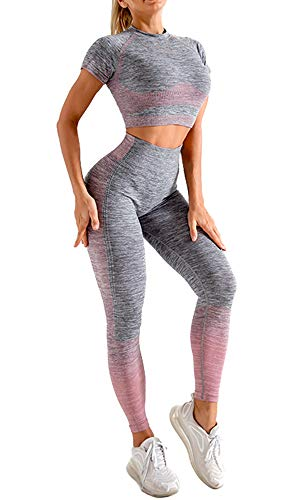 OLCHEE Women s 2 Piece Tracksuit Workout Outfits - Seamless High Waist Leggings and Short Sleeve Crop Top Yoga Activewear Set - Pink and Grey Size S