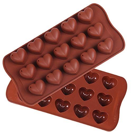 JQPFNPEI 1 Pc Non-Adhésif 15 Logements Saint Valentin Cadeaux De Silicone en Forme De Coeur en Gelée De Glace À La Chocolat Fondant Moules De Cuisson Accessoires