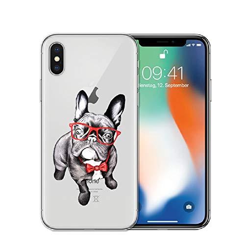 APHT Perro Mono Dog Funda Compatible con iPhone 5-12 Pro MAX TPU Silicona Líquida Suave Antichoque Bumper Cover