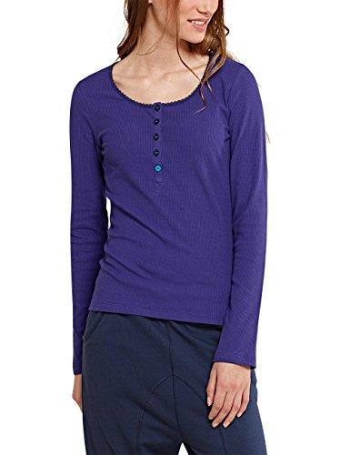 Uncover by Schiesser Damen Uncover henley l/sleeves Schlafanzugoberteil, Blau (violett 810), 40 (Herstellergröße: L)