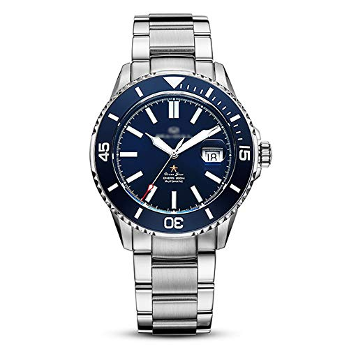 CQING Qazxsw Business Watch herenhorloge automatisch mechaniek horloge lichtgevende wijzers waterdicht horloge kalender display roestvrij stalen armband voor pols curve