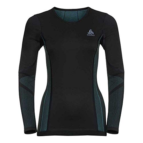 Odlo 612371 T-Shirt Manches Longues Femme Black/Blue Radiance FR : L (Taille Fabricant : L)