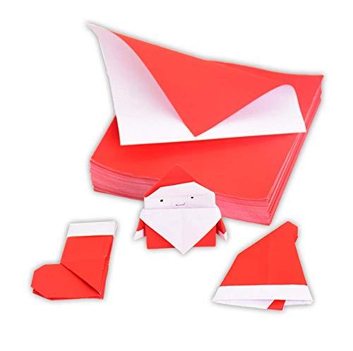 Molinter Lot de 100 feuilles de papier pour origami de Noël Rouge/blanc