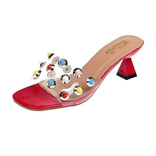 Transparente hochhackige Sandalen und Pantoffel weibliche Sommer Slip offene Zehe EIN Wort Drag Mode Wear Farbe Niet dick mit Pantoffeln rosa39EU