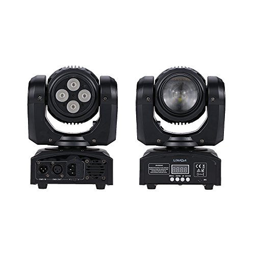 Lixada 5LED 50W Beam Wash Double Sides RGBW 15 / 21 Channel DMX 512 Infinite Rotating Moving Head LED Stage Pattern Lamp for Indoor Disco KTV Club Party
