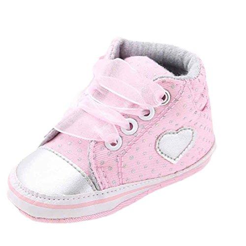 kingko® Chaussures Fille Toile Bébés garçons Chaussures Sneaker anti-dérapant souple Sole Toddler adapté pour 0-18 mois bébé (0~6 mois, rose)