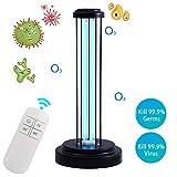 UV Light Sanitizer, UVC Disinfection Lamp, Remote Control Germicidal Lamp Steriliser Light Ultraviolet Ozone Disinfection 38W Sterilization for Home Kills 99% of Germs Viruses & Bacteria