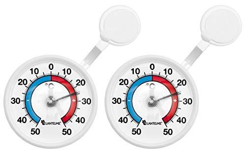 Lantelme 2 Stück Fensterthermometer Set selbstklebend deutsche Herstellung Außen analog Fenster Klebe Thermometer 4081