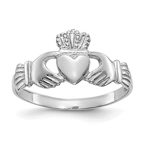 14k White Gold Ladies Irish Claddagh Celtic Knot Band Ring Size 6.50 Fine Jewelry For Women Mothers Day Gifts For Her