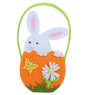 Fine Easter Bunny Basket for Kids Personalized Canvas Cotton Carrying Gift and Easter Bunny Gift Wrapping Bags (Orange)