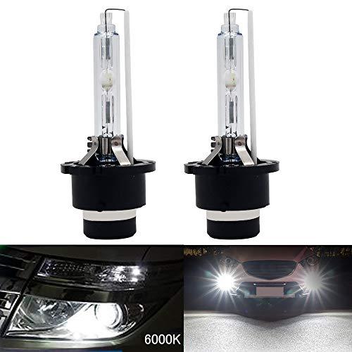 Lot de 2 ampoules HSUN D2C D2S D2R HID au xénon 12 V 35 W en métal de qualité pour phares de phare, blanc pur 6000 K