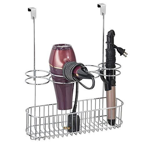 mDesign Soporte para secador de Pelo sin Taladro – Organizador de baño de Metal para secador de Cabello, Plancha para Pelo y más...