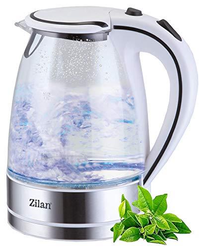 Edelstahl Glas Wasserkocher   2200W   1,7 Liter   Blaue LED Innen-Beleuchtung   360 Grad   Kalkfilter   BPA Frei   Kettle   Wasseraufbereiter   Teekocher   Wasserkessel  