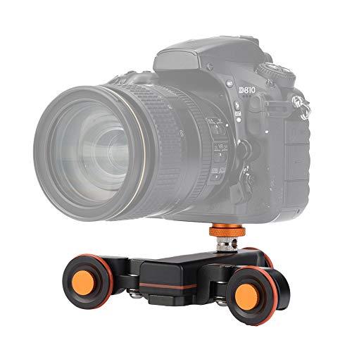 Dolly - Eje para cámara de fotos de aluminio Dolly, mini motorizado eléctrico, carro de desplazamiento del motor Dolly Truck Car para cámara DSLR y acción cámara y móvil, color negro